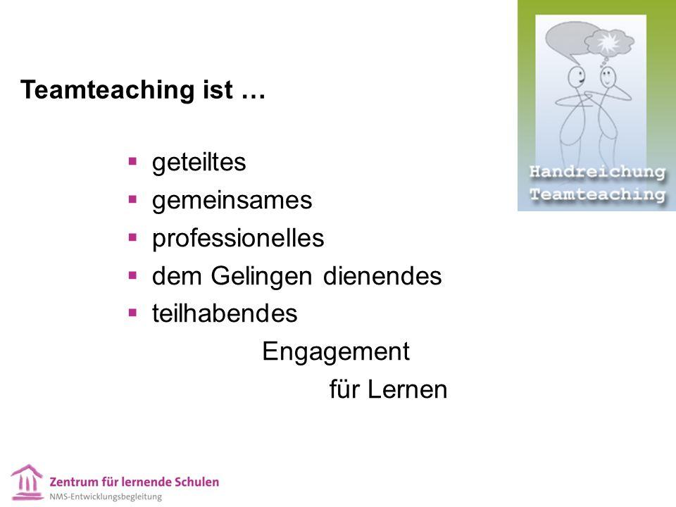  geteiltes  gemeinsames  professionelles  dem Gelingen dienendes  teilhabendes Engagement für Lernen Teamteaching ist …