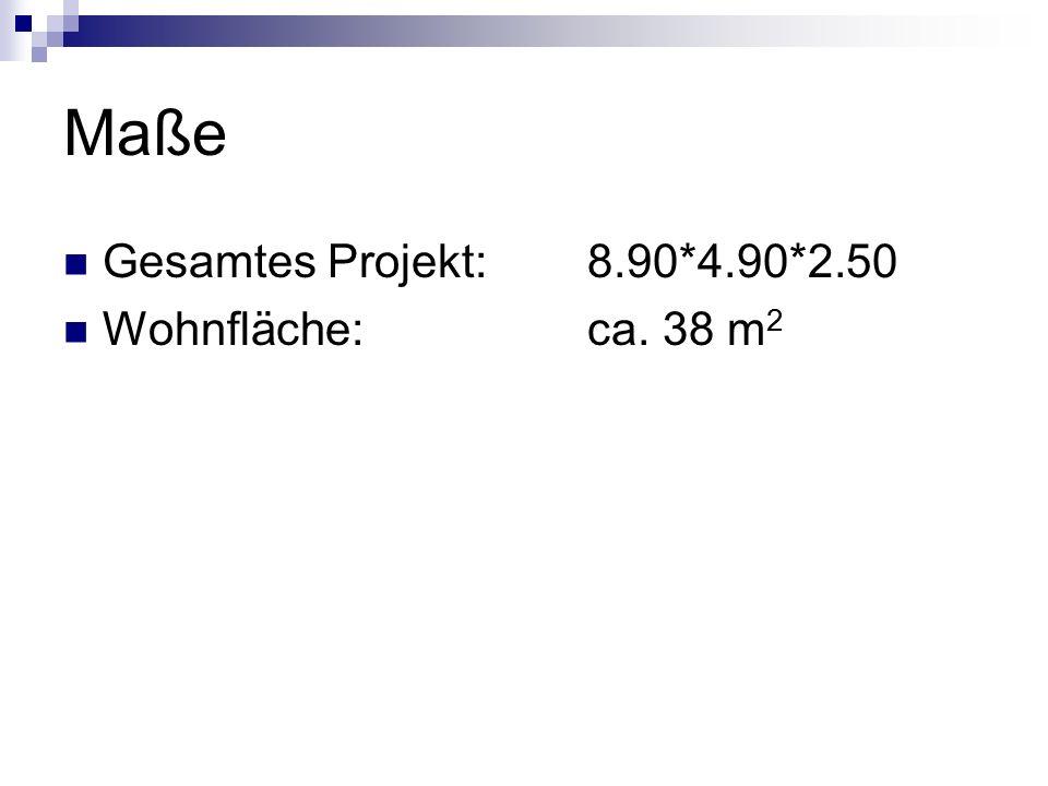 Maße Gesamtes Projekt: 8.90*4.90*2.50 Wohnfläche: ca. 38 m 2