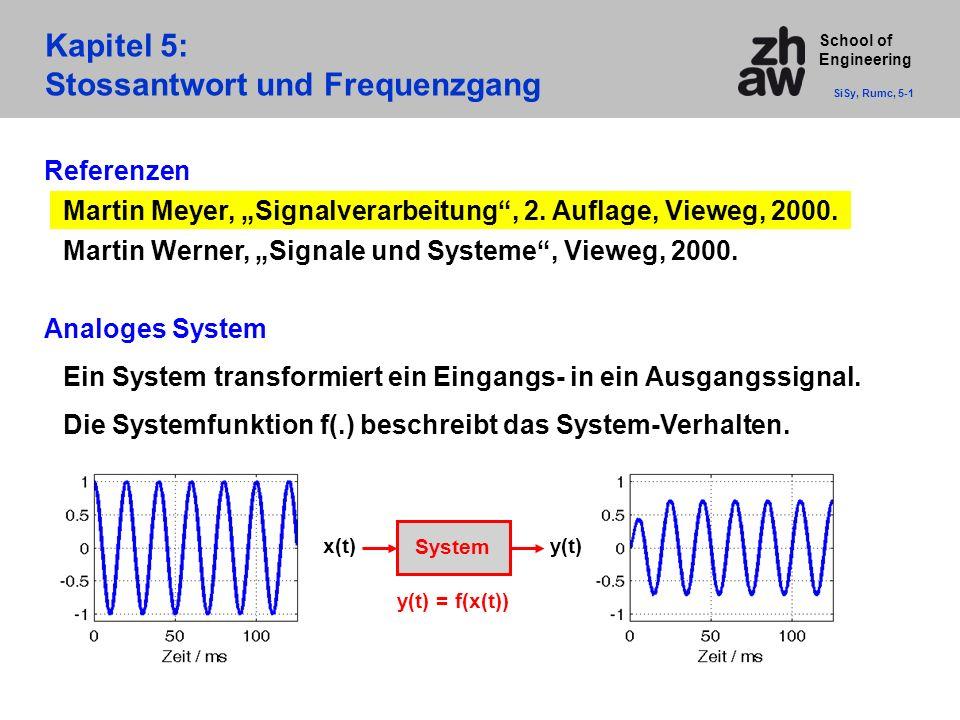 """School of Engineering Kapitel 5: Stossantwort und Frequenzgang SiSy, Rumc, 5-1 Referenzen Martin Meyer, """"Signalverarbeitung"""", 2. Auflage, Vieweg, 2000"""