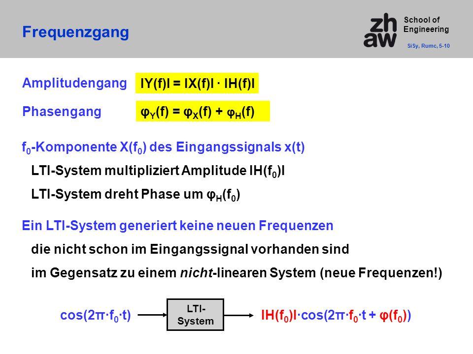 School of Engineering Frequenzgang SiSy, Rumc, 5-10 Amplitudengang IY(f)I = IX(f)I · IH(f)I Phasengangφ Y (f) = φ X (f) + φ H (f) f 0 -Komponente X(f