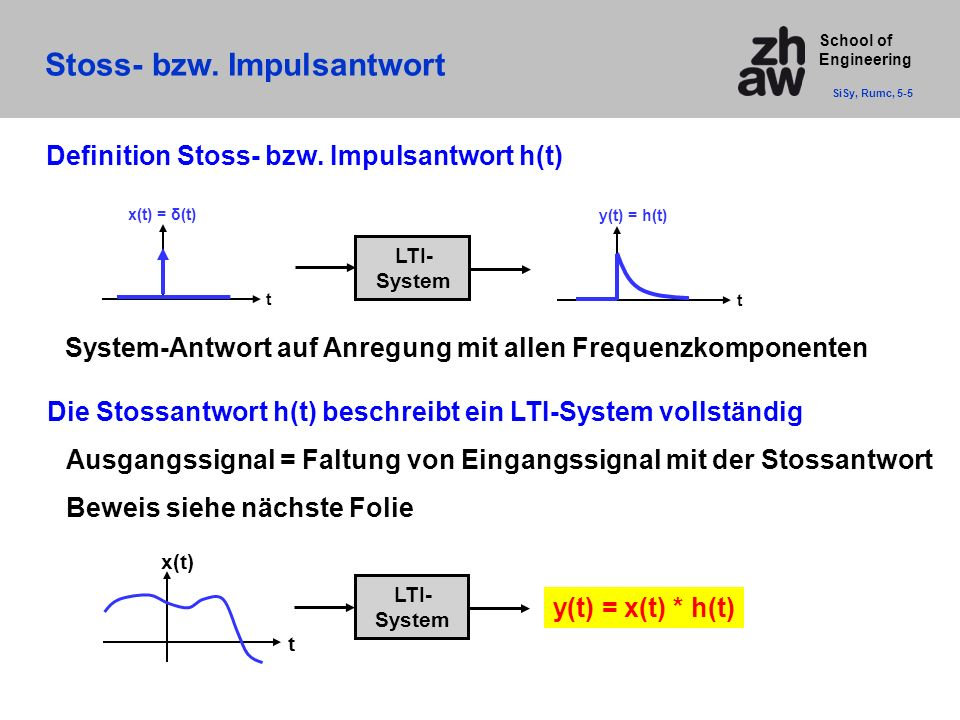 School of Engineering Stoss- bzw.Impulsantwort SiSy, Rumc, 5-5 Definition Stoss- bzw.