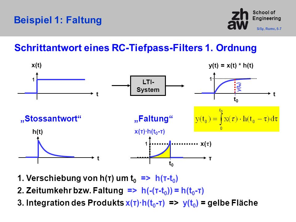 School of Engineering Beispiel 1: Faltung SiSy, Rumc, 5-7 t h(t) t x(t) 1 τ x( τ ) 1 t0t0 x(τ)·h(t 0 -τ) t y(t) = x(t) * h(t) 1 t0t0 y(t 0 ) LTI- System 1.