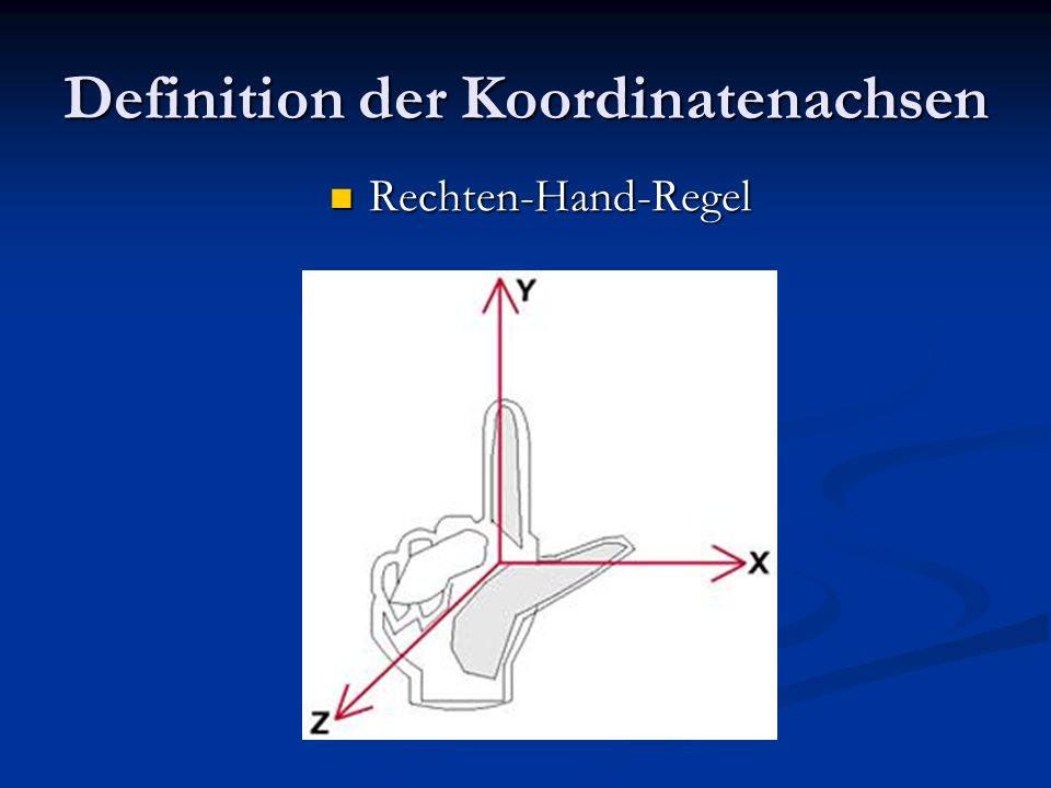 Definition der Koordinatenachsen Rechten-Hand-Regel Rechten-Hand-Regel