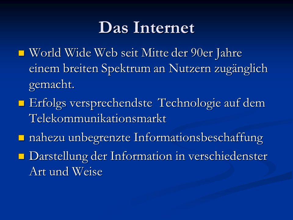 Das Internet World Wide Web seit Mitte der 90er Jahre einem breiten Spektrum an Nutzern zugänglich gemacht.