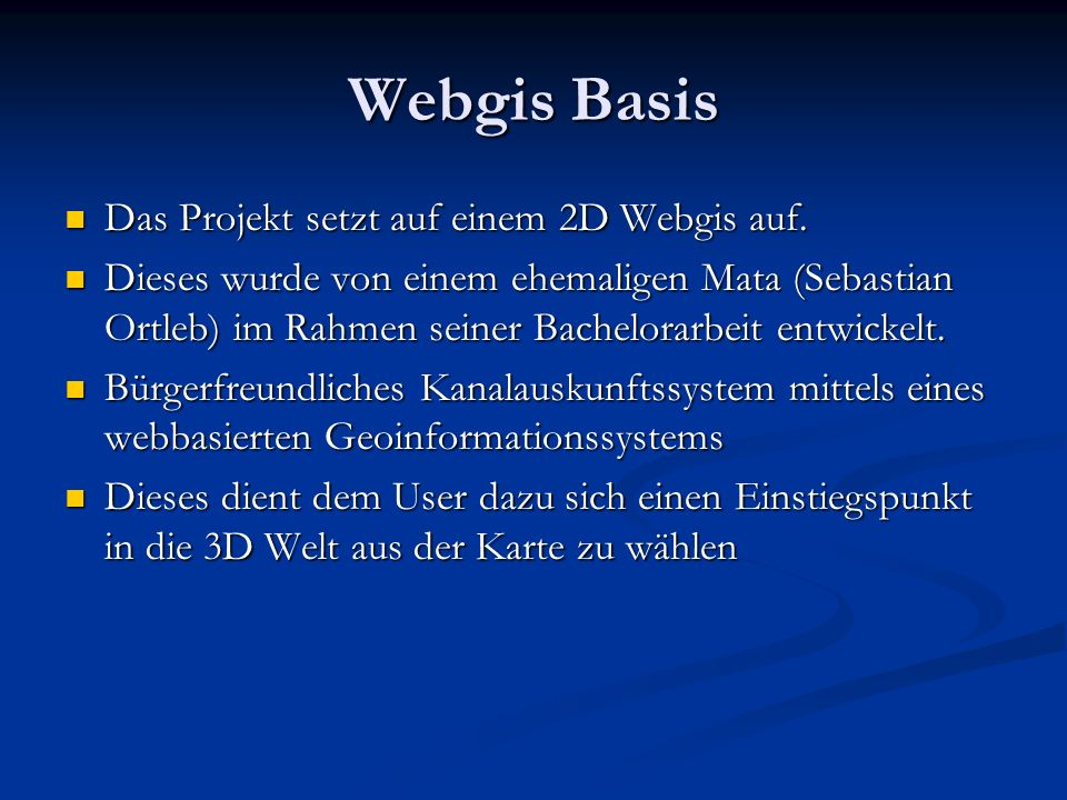 Webgis Basis Interface Wahl des Einstiegspunktes