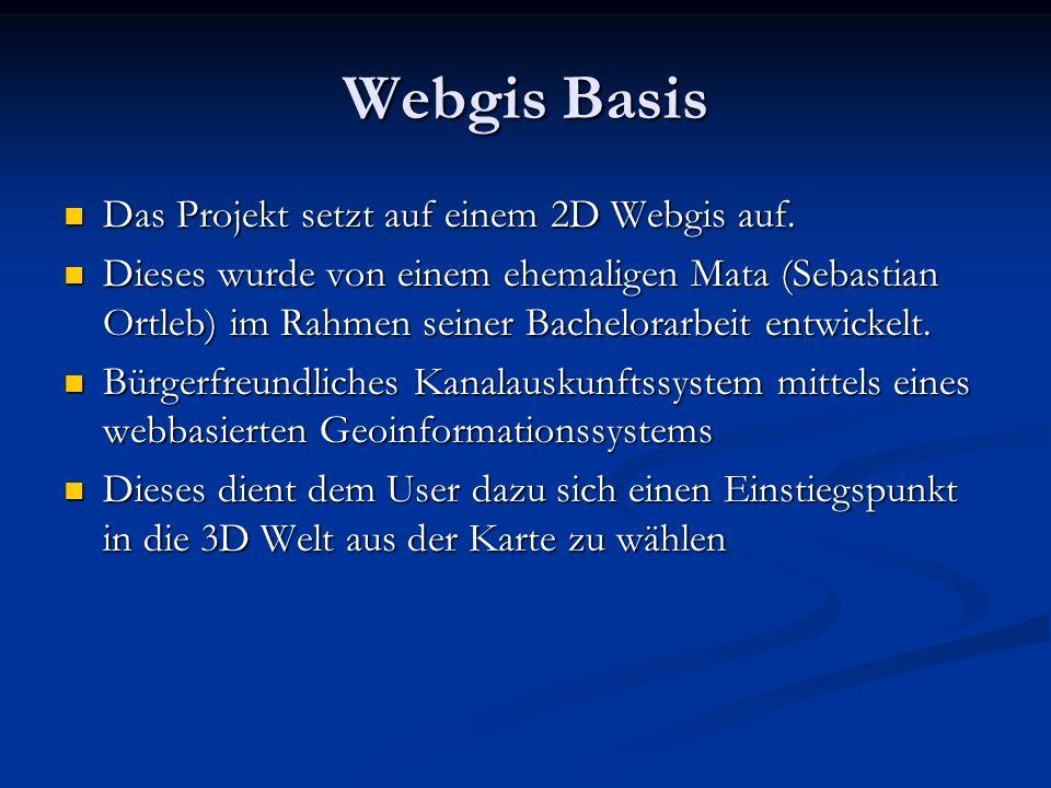 Webgis Basis Das Projekt setzt auf einem 2D Webgis auf.