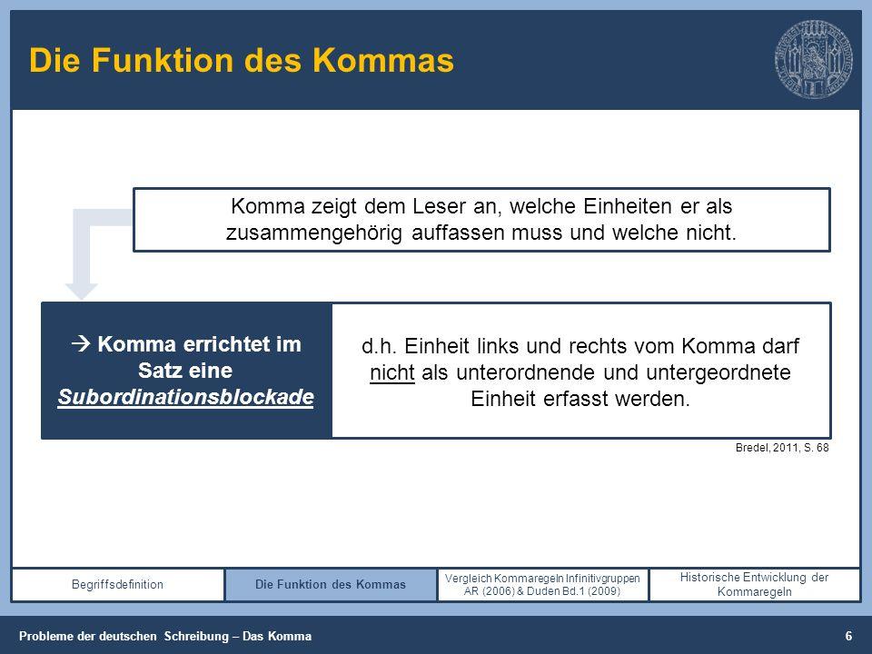 Die Funktion des Kommas Begriffsdefinition (Cooper, 2013, S. 26-28) Komma zeigt dem Leser an, welche Einheiten er als zusammengehörig auffassen muss u