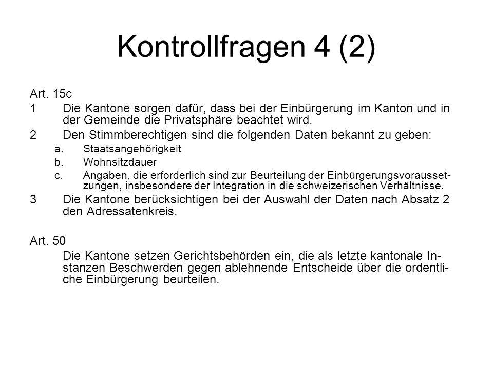 Bundesgerichtsentscheide zum Einbürgerungsverfahren Als Lernhilfe wird kommentarlos auf die folgenden Urteile verwiesen: BGE 129 I 217, 232 BGE 130 I 140 BGE 131 I 18 BGE 132 I 167 BGE 132 II 113 BGE 135 II 1, 161 1P.550/2006 und 1P.552/2006 1D_8/2007 und 1D_9/2007 1D_11/2007 und 1D_12/2007 1D_1/2008