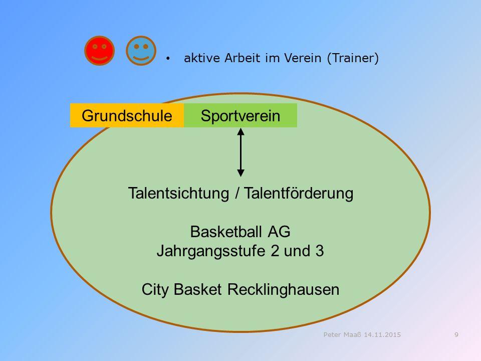 aktive Arbeit im Verein (Trainer) Talentsichtung / Talentförderung Basketball AG Jahrgangsstufe 2 und 3 City Basket Recklinghausen GrundschuleSportverein 9Peter Maaß 14.11.2015