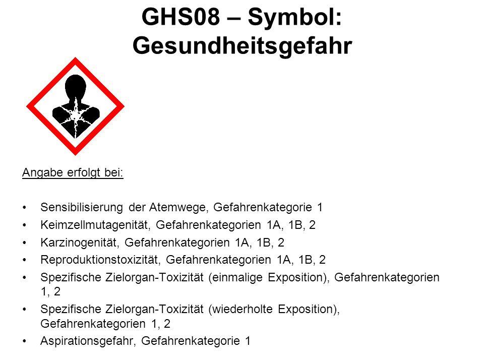 GHS08 – Symbol: Gesundheitsgefahr Angabe erfolgt bei: Sensibilisierung der Atemwege, Gefahrenkategorie 1 Keimzellmutagenität, Gefahrenkategorien 1A, 1