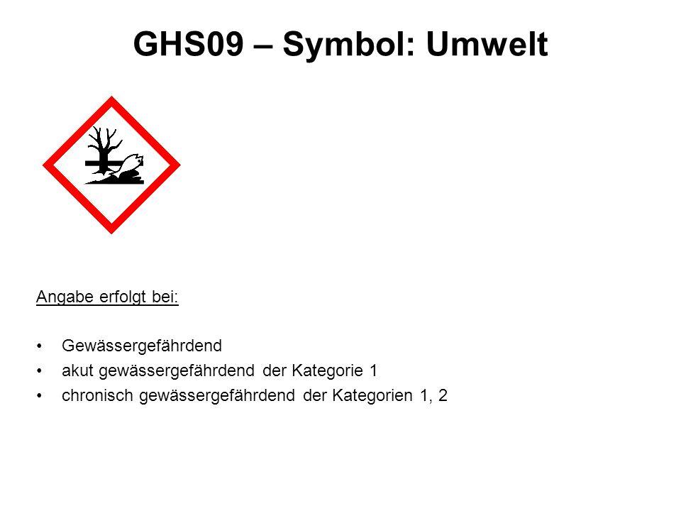 GHS09 – Symbol: Umwelt Angabe erfolgt bei: Gewässergefährdend akut gewässergefährdend der Kategorie 1 chronisch gewässergefährdend der Kategorien 1, 2