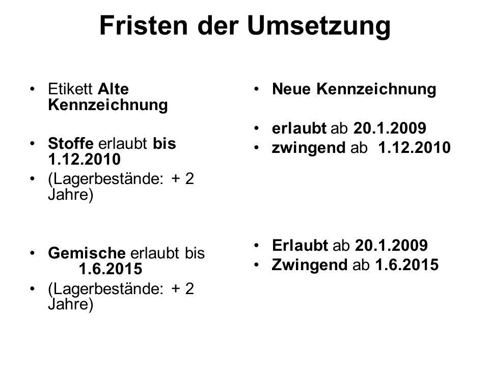 Fristen der Umsetzung Etikett Alte Kennzeichnung Stoffe erlaubt bis 1.12.2010 (Lagerbestände: + 2 Jahre) Gemische erlaubt bis 1.6.2015 (Lagerbestände: