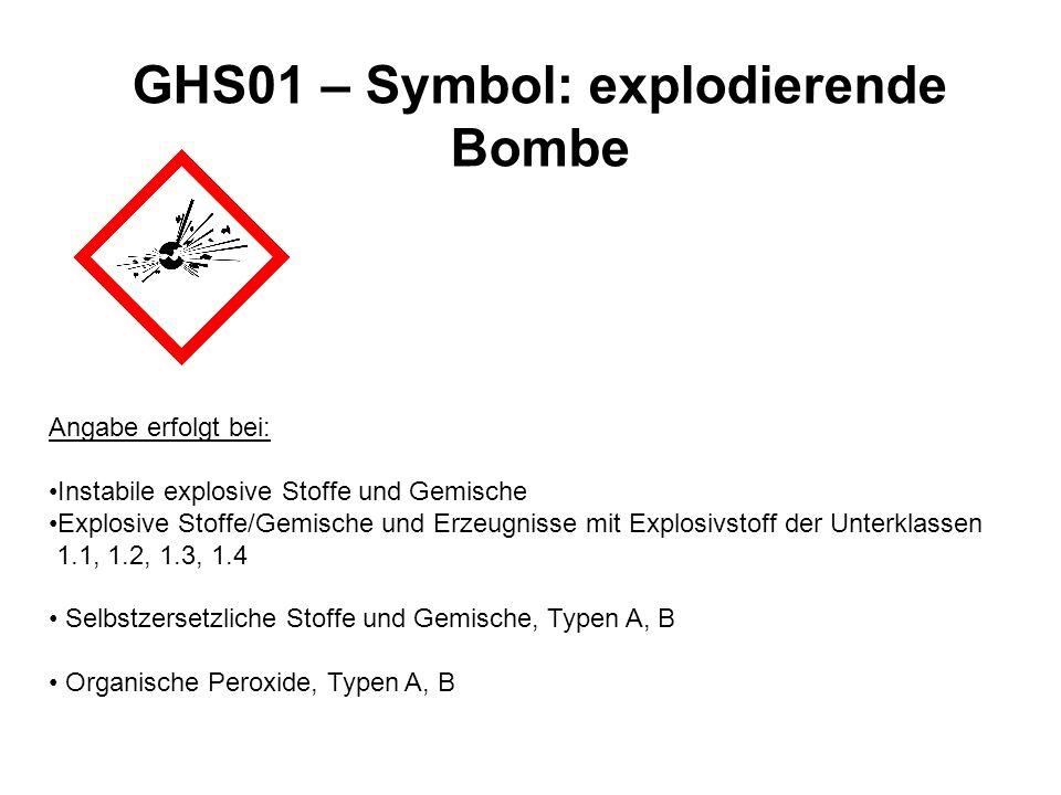 GHS01 – Symbol: explodierende Bombe Angabe erfolgt bei: Instabile explosive Stoffe und Gemische Explosive Stoffe/Gemische und Erzeugnisse mit Explosiv