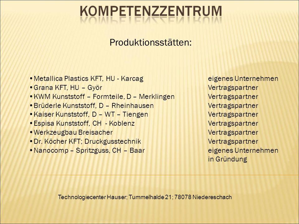 Technologiecenter Hauser; Tummelhalde 21; 78078 Niedereschach Metallica Plastics KFT, HU - Karcageigenes Unternehmen Grana KFT, HU – GyörVertragspartn