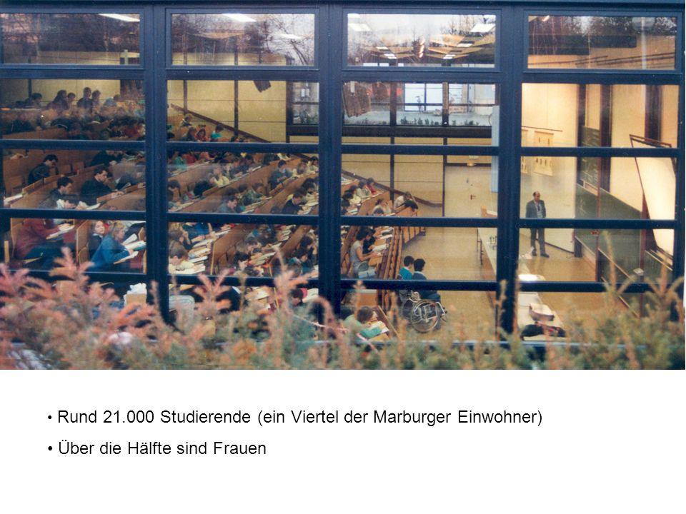Rund 21.000 Studierende (ein Viertel der Marburger Einwohner) Über die Hälfte sind Frauen
