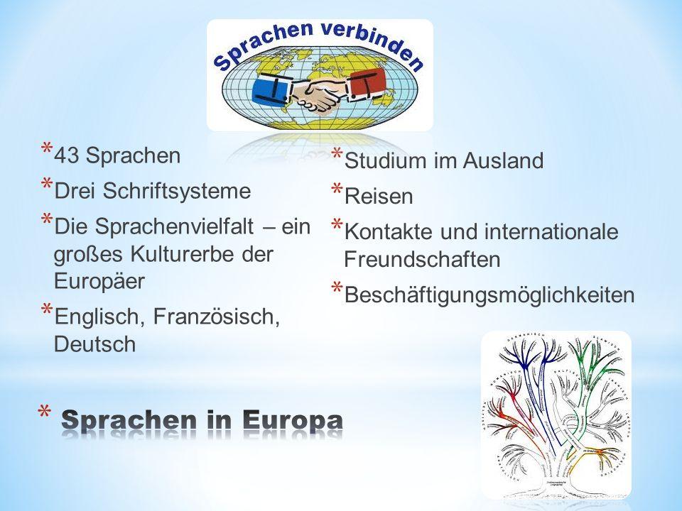 * 43 Sprachen * Drei Schriftsysteme * Die Sprachenvielfalt – ein großes Kulturerbe der Europäer * Englisch, Französisch, Deutsch * Studium im Ausland * Reisen * Kontakte und internationale Freundschaften * Beschäftigungsmöglichkeiten