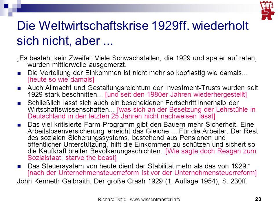 Richard Detje - www.wissentransfer.info23 Die Weltwirtschaftskrise 1929ff.