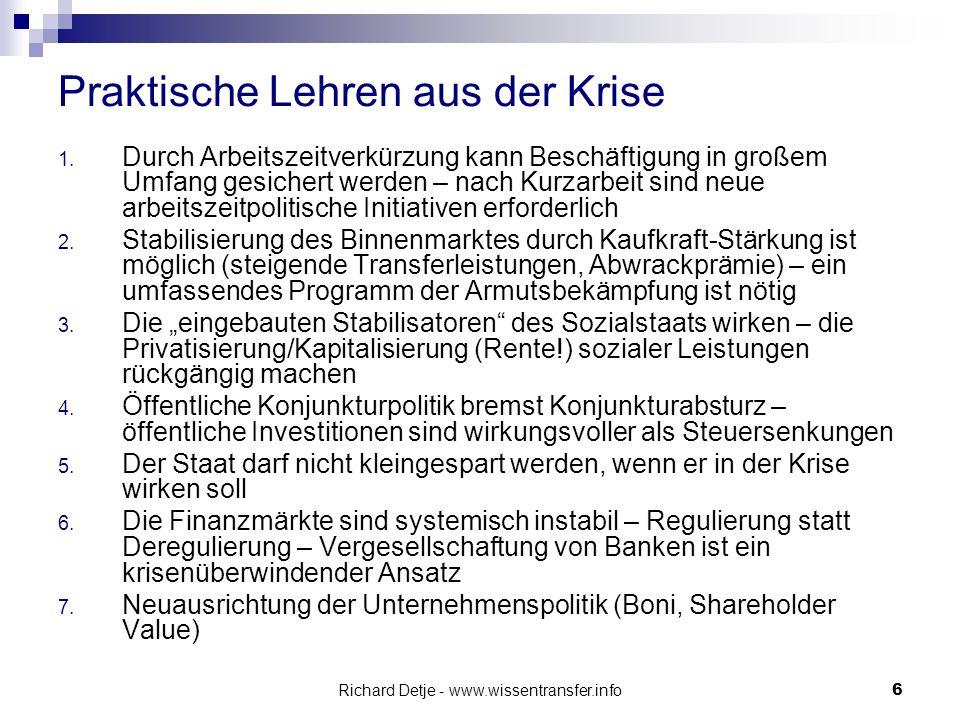 Richard Detje - www.wissentransfer.info27 Systemische Krise der US-Hegemonie Defizitländer: USA, UK, Spanien negative Handelsbilanz Kreditfinanzierte Binnennachfrage Überschussländer: China/Japan/Deutschl.