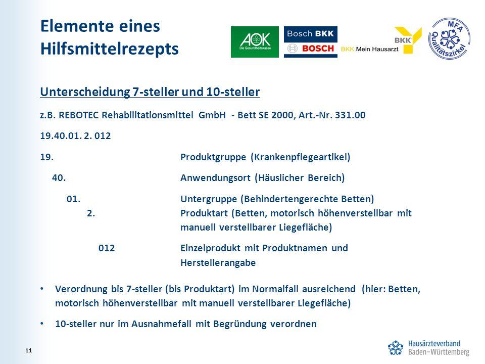 Elemente eines Hilfsmittelrezepts Unterscheidung 7-steller und 10-steller z.B. REBOTEC Rehabilitationsmittel GmbH - Bett SE 2000, Art.-Nr. 331.00 19.4