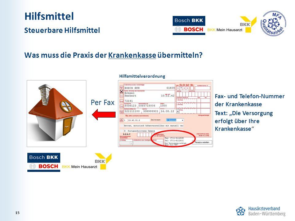 """Was muss die Praxis der Krankenkasse übermitteln? Per Fax Hilfsmittelverordnung Fax- und Telefon-Nummer der Krankenkasse Text: """"Die Versorgung erfolgt"""