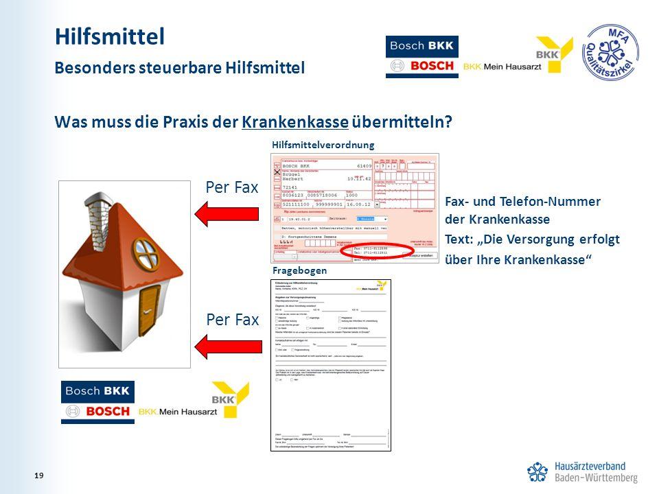 """Was muss die Praxis der Krankenkasse übermitteln? Per Fax Fragebogen Hilfsmittelverordnung Fax- und Telefon-Nummer der Krankenkasse Text: """"Die Versorg"""