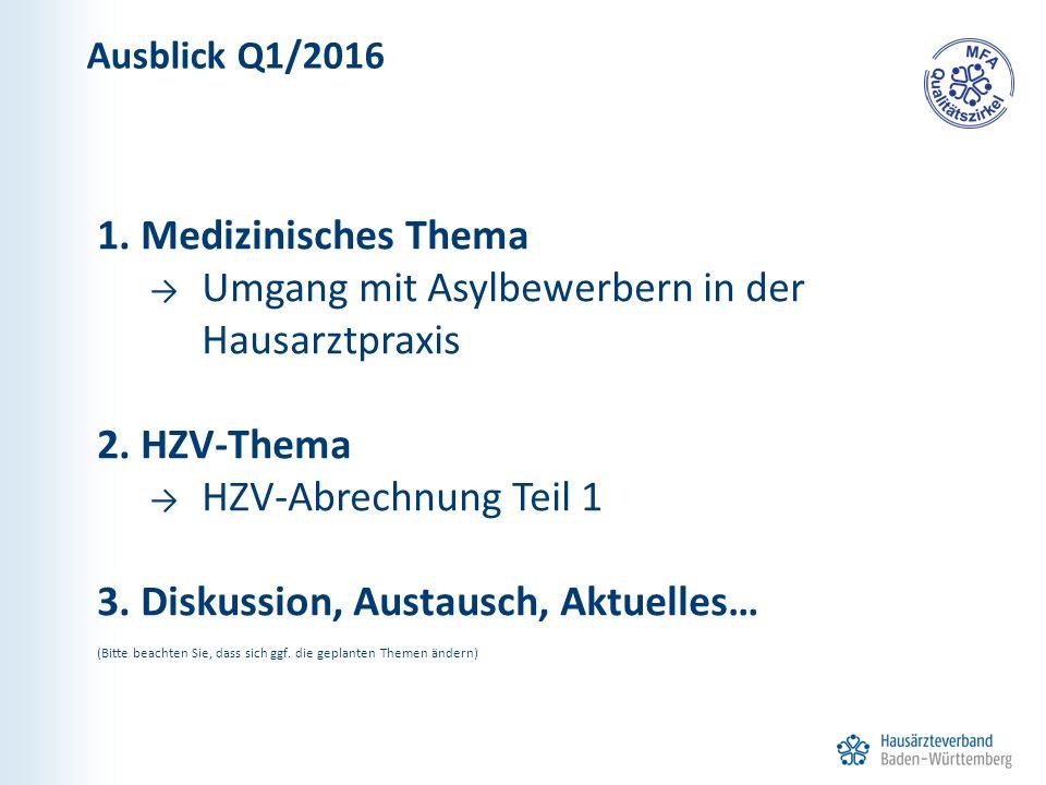 1. Medizinisches Thema → Umgang mit Asylbewerbern in der Hausarztpraxis 2. HZV-Thema → HZV-Abrechnung Teil 1 3. Diskussion, Austausch, Aktuelles… (Bit