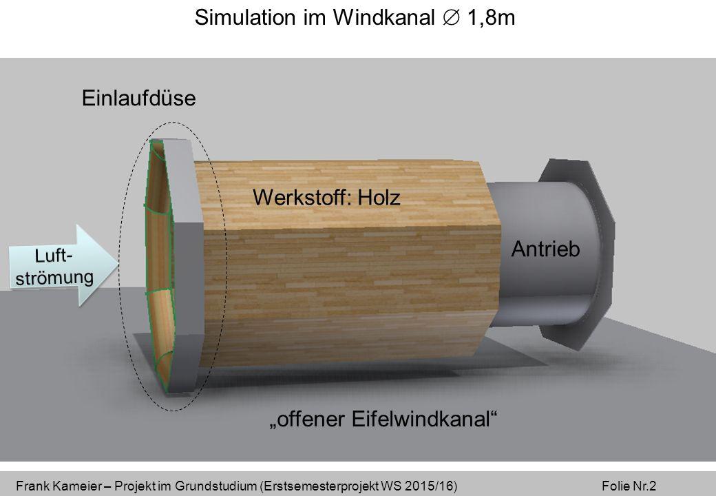 """Frank Kameier – Projekt im Grundstudium (Erstsemesterprojekt WS 2015/16) Folie Nr.2 Simulation im Windkanal  1,8m Werkstoff: Holz Antrieb Einlaufdüse """"offener Eifelwindkanal"""