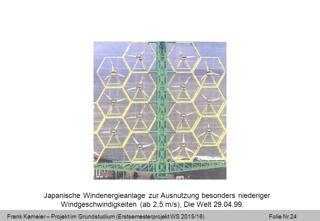 Frank Kameier – Projekt im Grundstudium (Erstsemesterprojekt WS 2015/16) Folie Nr.24 Japanische Windenergieanlage zur Ausnutzung besonders niederiger Windgeschwindigkeiten (ab 2,5 m/s), Die Welt 29.04.99.