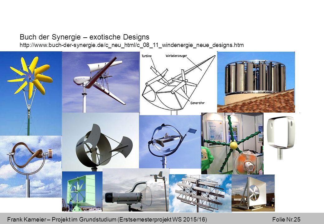 Frank Kameier – Projekt im Grundstudium (Erstsemesterprojekt WS 2015/16) Folie Nr.25 Buch der Synergie – exotische Designs http://www.buch-der-synergie.de/c_neu_html/c_08_11_windenergie_neue_designs.htm