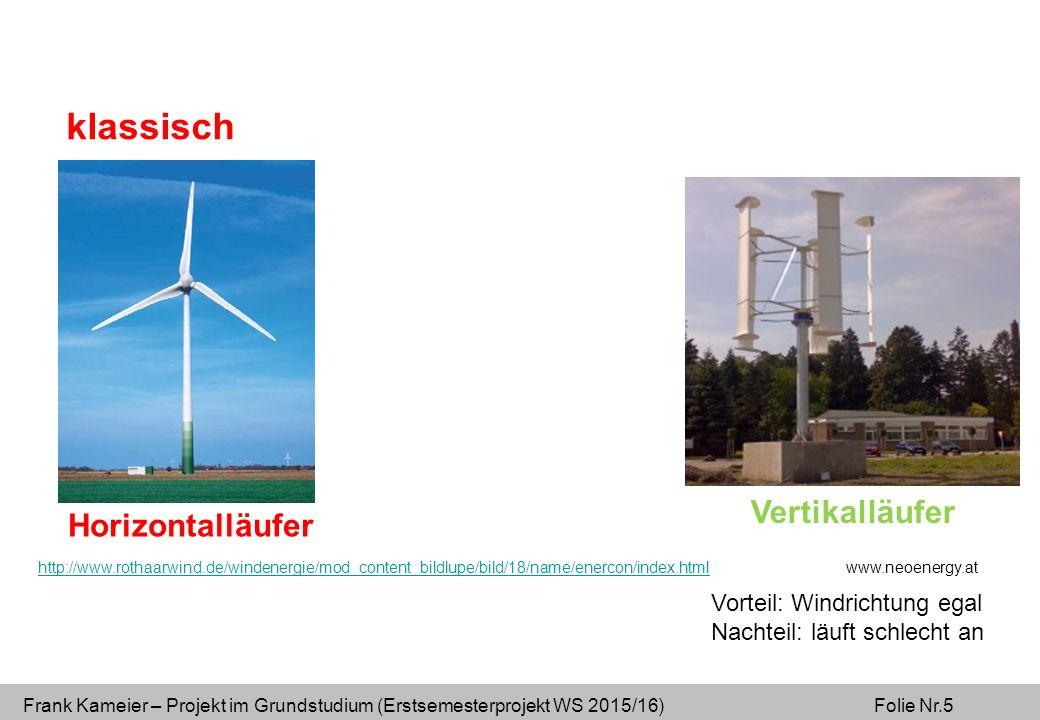 Frank Kameier – Projekt im Grundstudium (Erstsemesterprojekt WS 2015/16) Folie Nr.5 Horizontalläufer Vertikalläufer klassisch http://www.rothaarwind.de/windenergie/mod_content_bildlupe/bild/18/name/enercon/index.htmlhttp://www.rothaarwind.de/windenergie/mod_content_bildlupe/bild/18/name/enercon/index.html www.neoenergy.at Vorteil: Windrichtung egal Nachteil: läuft schlecht an