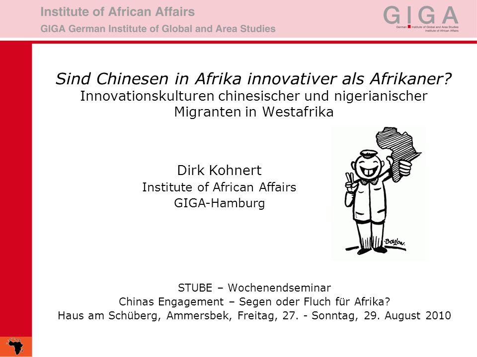 23.06.20162 Gliederung: (1) Ursachen der chinesischen Migration nach Afrika (2)Vergleichende Studien von Innovationskulturen chinesischer und nigerianischer Migranten in Afrika (3) Zur Verflechtung von 'trading diasporas in Westafrika (4) Fazit