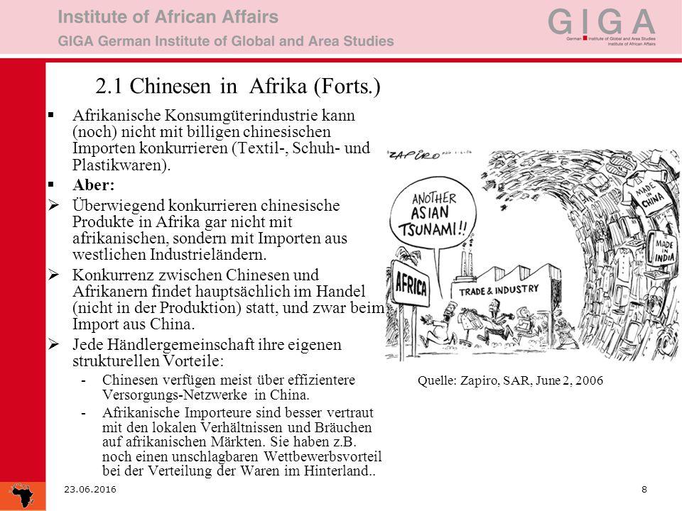 23.06.20168 2.1 Chinesen in Afrika (Forts.)  Afrikanische Konsumgüterindustrie kann (noch) nicht mit billigen chinesischen Importen konkurrieren (Textil-, Schuh- und Plastikwaren).