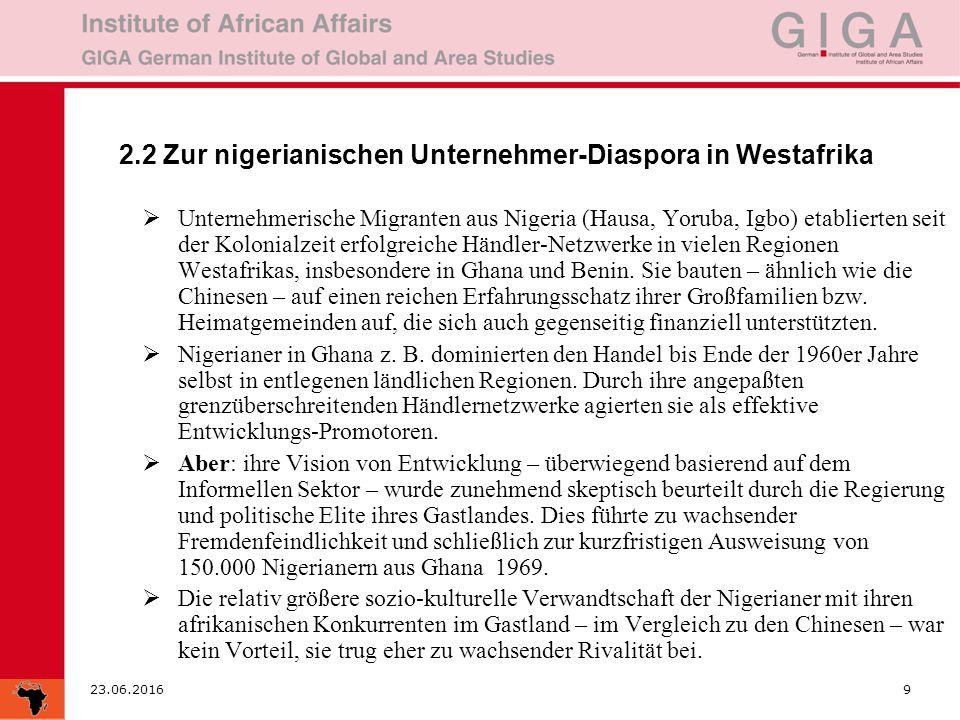 23.06.20169 2.2 Zur nigerianischen Unternehmer-Diaspora in Westafrika  Unternehmerische Migranten aus Nigeria (Hausa, Yoruba, Igbo) etablierten seit der Kolonialzeit erfolgreiche Händler-Netzwerke in vielen Regionen Westafrikas, insbesondere in Ghana und Benin.