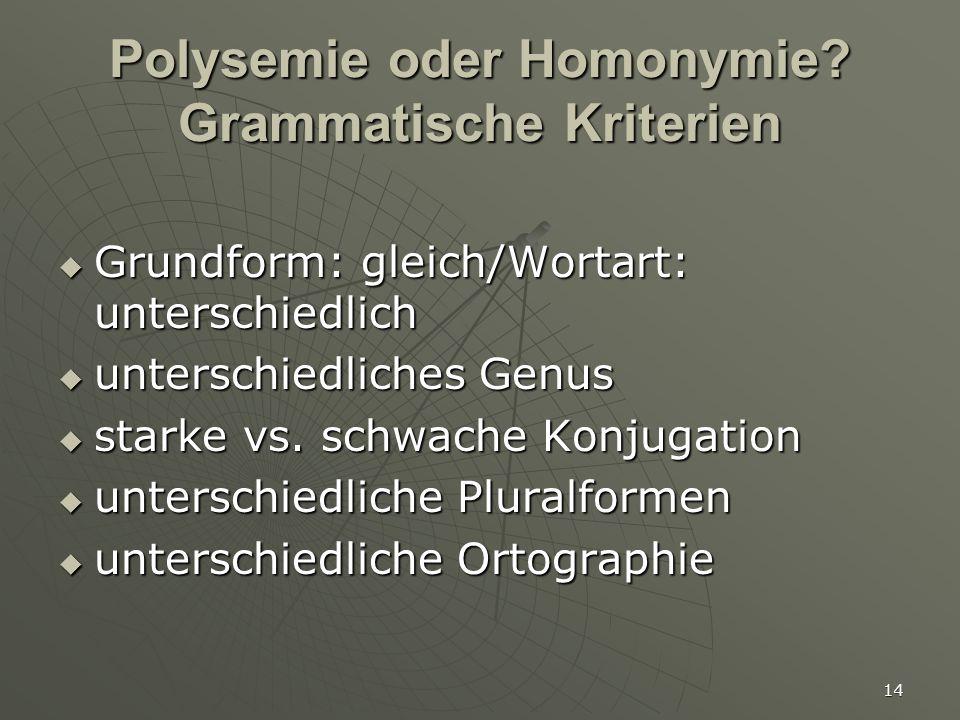 14 Polysemie oder Homonymie? Grammatische Kriterien  Grundform: gleich/Wortart: unterschiedlich  unterschiedliches Genus  starke vs. schwache Konju