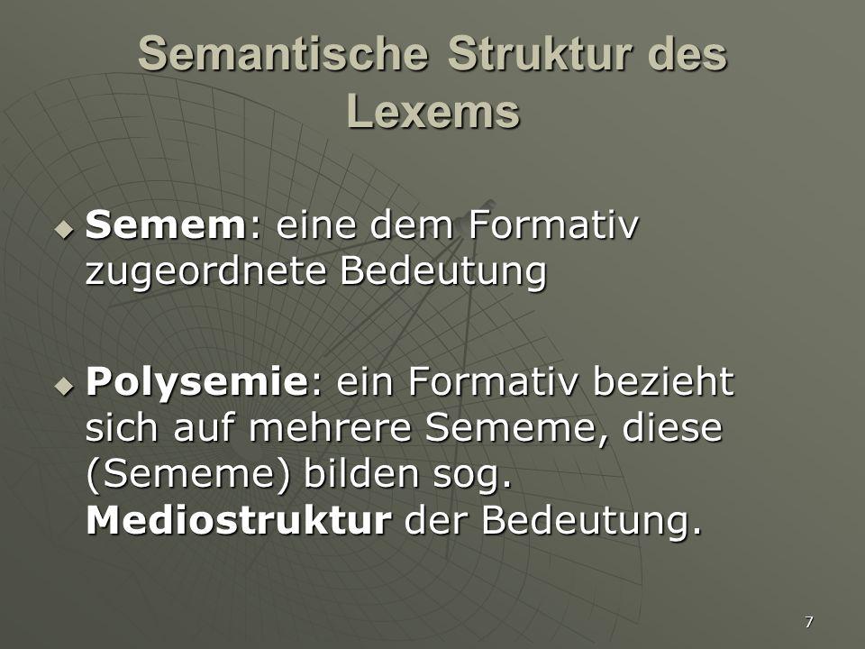 8 Sememe & Mediostruktur   Sememe: Beschreibungseinheiten für Bedeutungen auf der Ebene der Langue, die in der Parole aktualisiert werden   Sememe eines Wortes bilden seine Mediostruktur   Voraussagbarkeit → Polysemie