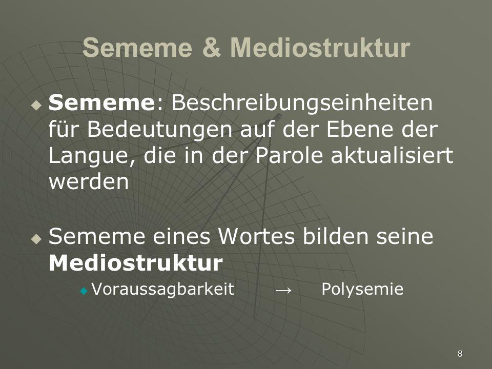 8 Sememe & Mediostruktur   Sememe: Beschreibungseinheiten für Bedeutungen auf der Ebene der Langue, die in der Parole aktualisiert werden   Sememe