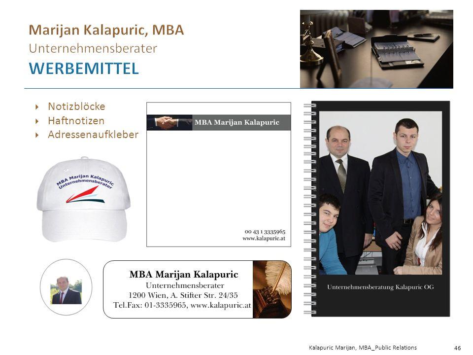 Kalapuric Marijan, MBA_Public Relations 46  Notizblöcke  Haftnotizen  Adressenaufkleber
