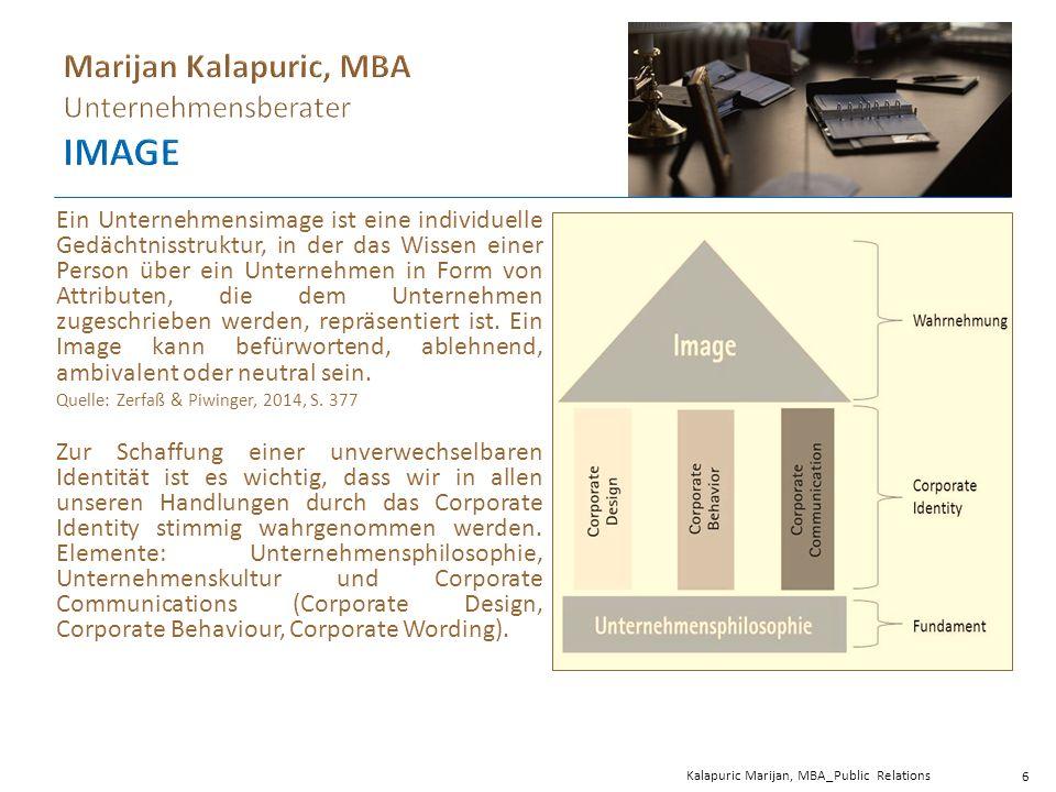 Kalapuric Marijan, MBA_Public Relations 6 Ein Unternehmensimage ist eine individuelle Gedächtnisstruktur, in der das Wissen einer Person über ein Unternehmen in Form von Attributen, die dem Unternehmen zugeschrieben werden, repräsentiert ist.