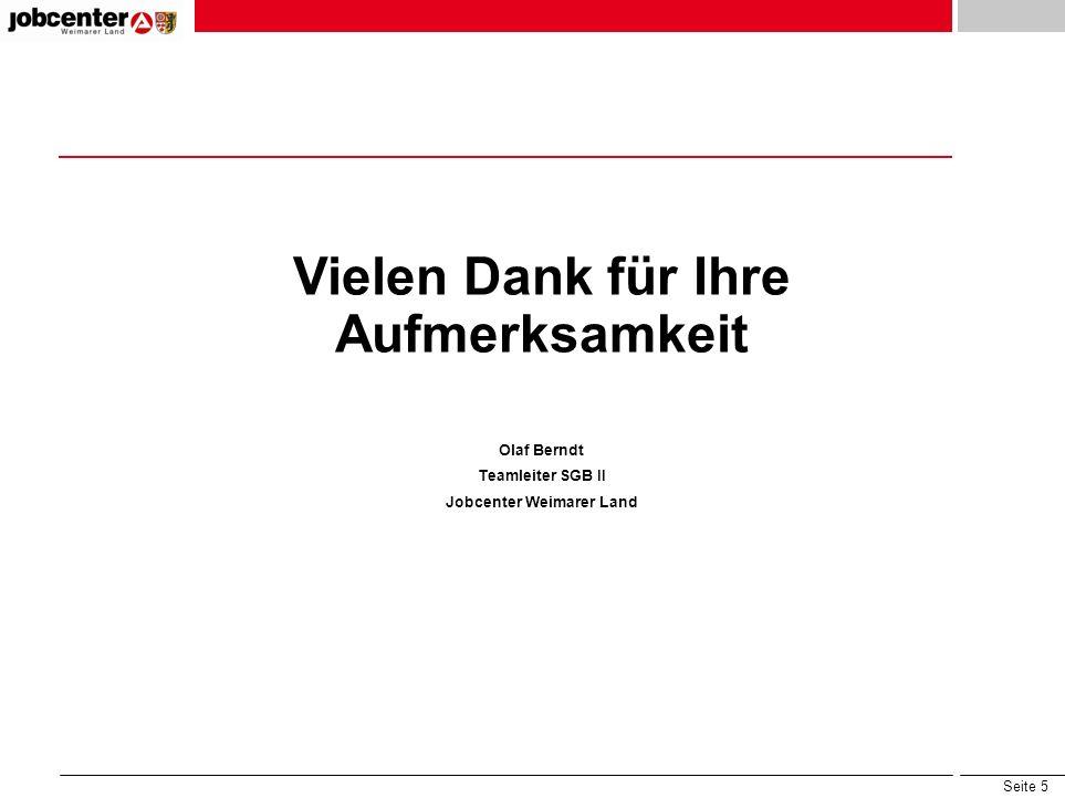 Seite 5 Vielen Dank für Ihre Aufmerksamkeit Olaf Berndt Teamleiter SGB II Jobcenter Weimarer Land