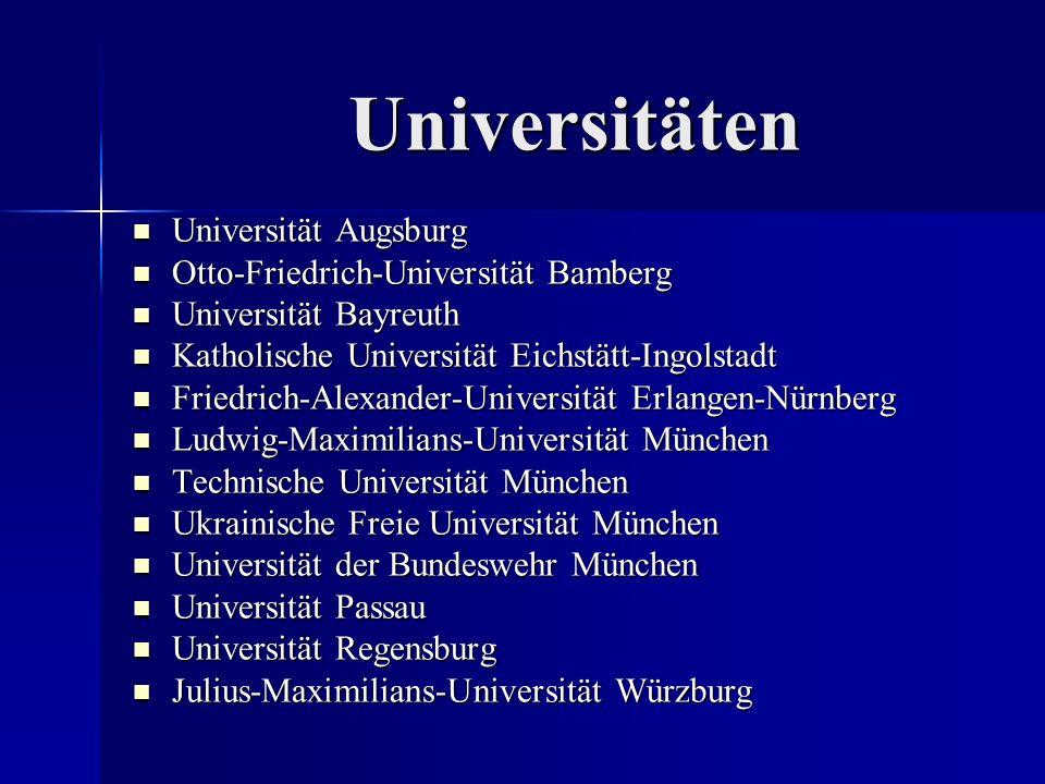 Universitäten Universität Augsburg Universität Augsburg Otto-Friedrich-Universität Bamberg Otto-Friedrich-Universität Bamberg Universität Bayreuth Uni