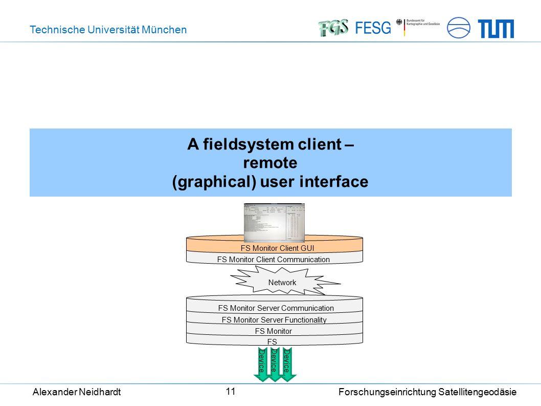 Technische Universität München Alexander Neidhardt Forschungseinrichtung Satellitengeodäsie 11 A fieldsystem client – remote (graphical) user interfac