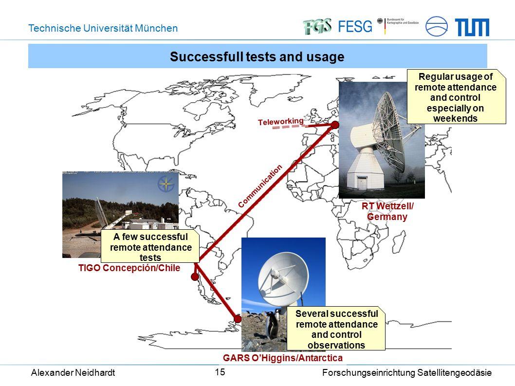 Technische Universität München Alexander Neidhardt Forschungseinrichtung Satellitengeodäsie 15 Successfull tests and usage TIGO Concepción/Chile GARS