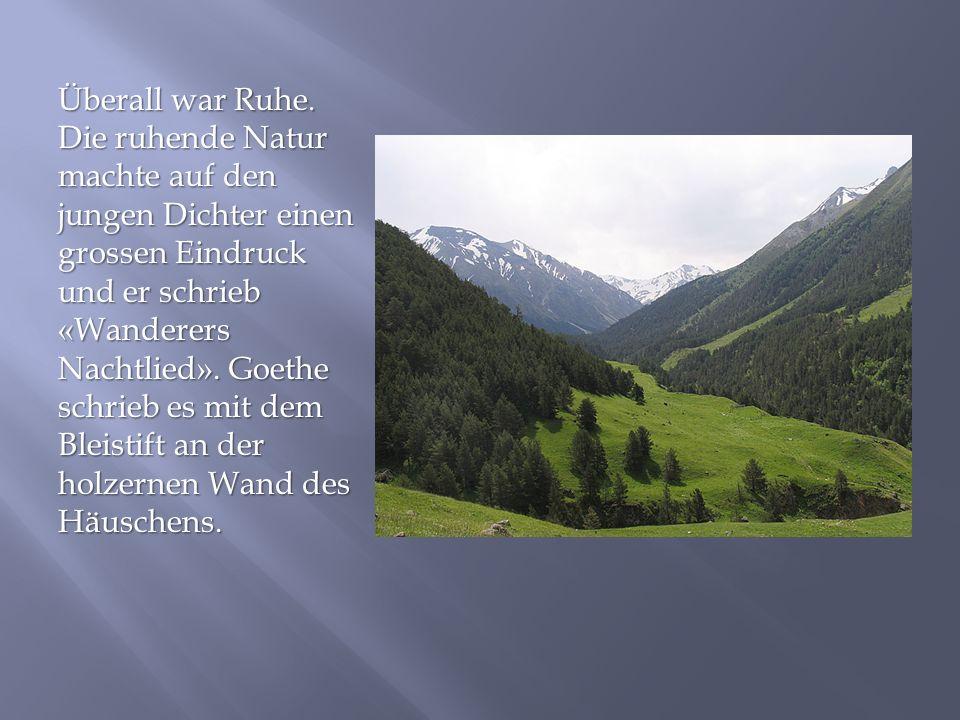 Überall war Ruhe. Die ruhende Natur machte auf den jungen Dichter einen grossen Eindruck und er schrieb «Wanderers Nachtlied». Goethe schrieb es mit d