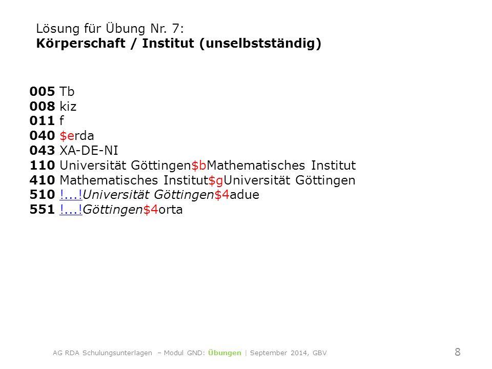 005 Tb 008 kiz 011 f 040 $erda 043 XA-DE-NI 110 Universität Göttingen$bMathematisches Institut 410 Mathematisches Institut$gUniversität Göttingen 510 !...!Universität Göttingen$4adue 551 !...!Göttingen$4orta!....