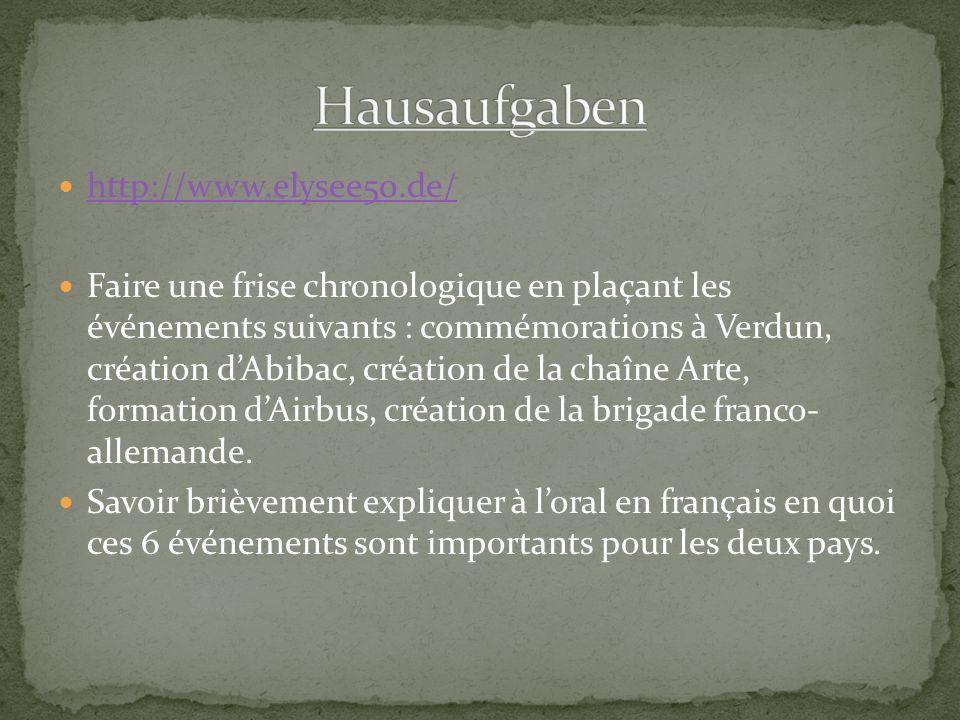 http://www.elysee50.de/ Faire une frise chronologique en plaçant les événements suivants : commémorations à Verdun, création d'Abibac, création de la