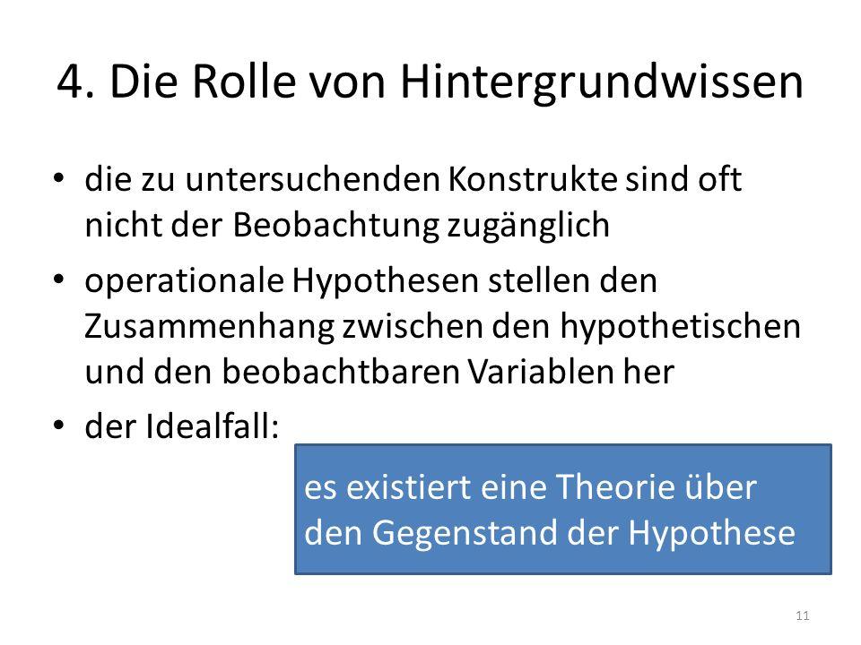 es existiert eine Theorie über den Gegenstand der Hypothese 4. Die Rolle von Hintergrundwissen die zu untersuchenden Konstrukte sind oft nicht der Beo