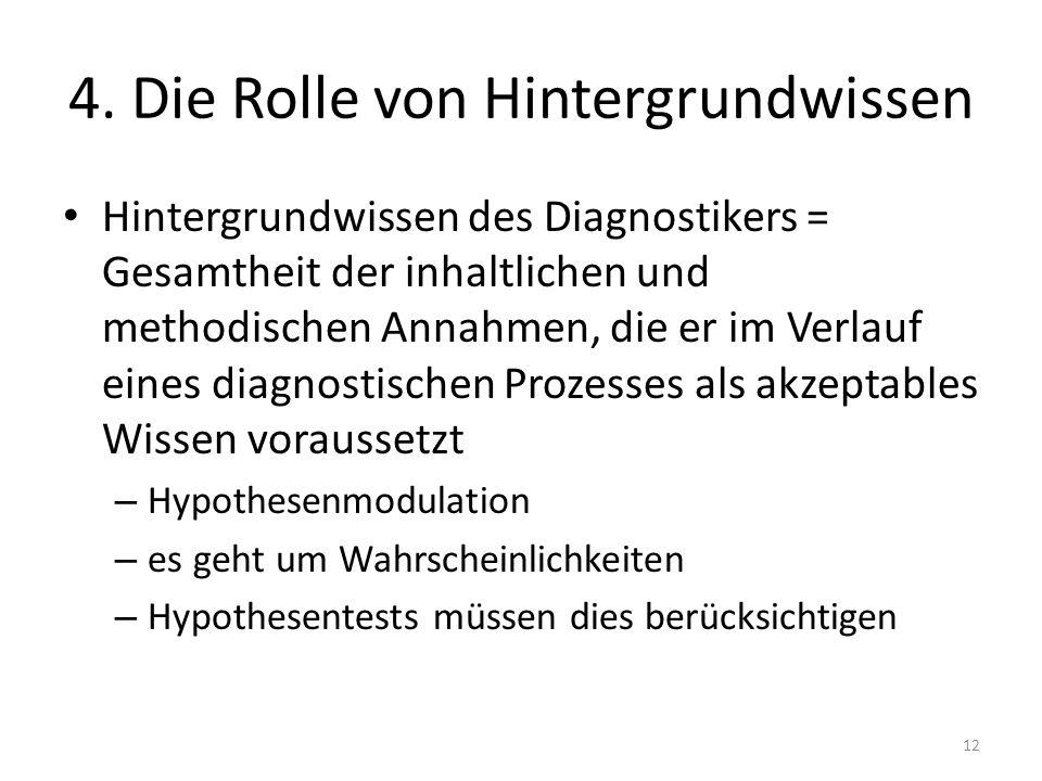 4. Die Rolle von Hintergrundwissen Hintergrundwissen des Diagnostikers = Gesamtheit der inhaltlichen und methodischen Annahmen, die er im Verlauf eine