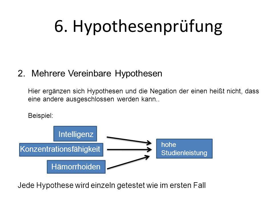 6. Hypothesenprüfung 2.Mehrere Vereinbare Hypothesen Hier ergänzen sich Hypothesen und die Negation der einen heißt nicht, dass eine andere ausgeschlo