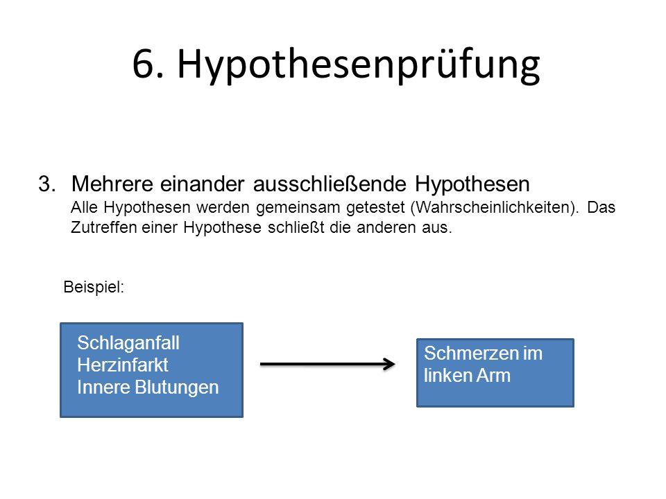 3.Mehrere einander ausschließende Hypothesen Alle Hypothesen werden gemeinsam getestet (Wahrscheinlichkeiten). Das Zutreffen einer Hypothese schließt