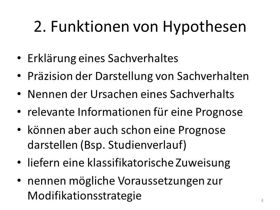 2. Funktionen von Hypothesen Erklärung eines Sachverhaltes Präzision der Darstellung von Sachverhalten Nennen der Ursachen eines Sachverhalts relevant